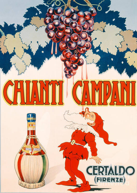 Poster Advertising Chianti Campani Poster featuring the drawing Poster Advertising Chianti Campani by Necchi