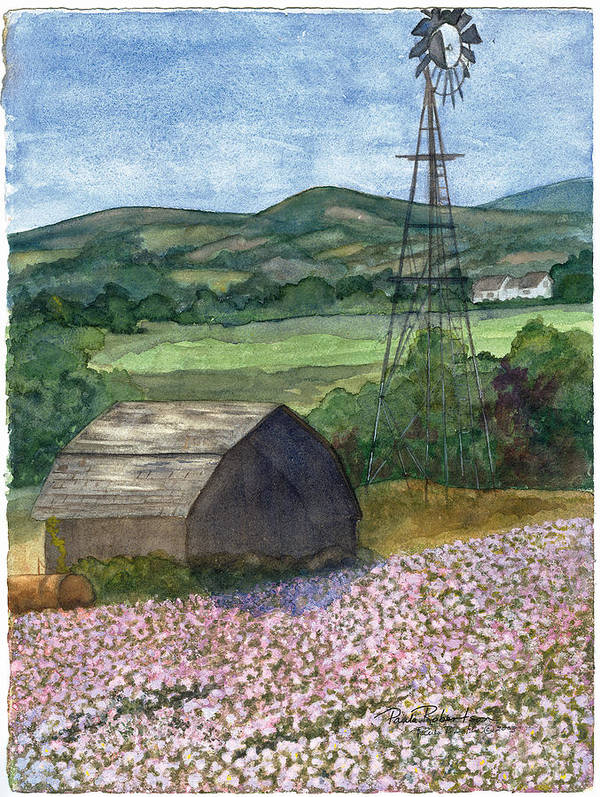 Aroostook County Poster featuring the painting Potato Blossoms by Paula Robertson