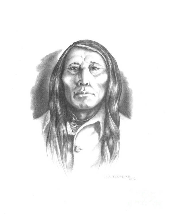 Poundmaker Poster featuring the drawing Poundmaker by Lee Updike