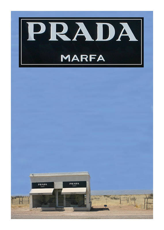 Framed Prints Of Prada Marfa Is A Permanently Installed Sculpture By Artists Elmgreen And Dragset Poster featuring the photograph Prada Marfa Texas by Jack Pumphrey