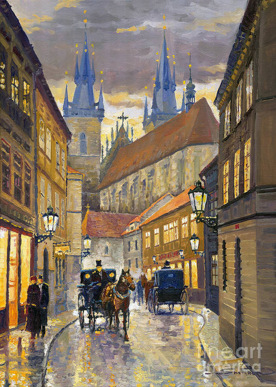 Oil Poster featuring the painting Prague Old Street Stupartska by Yuriy Shevchuk