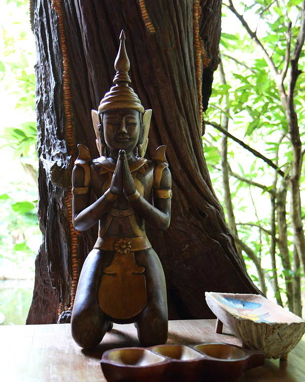 Chiang Poster featuring the photograph Praying Statue - Panviman Chiang Mai Spa And Resort - Chiang Mai Thailand - 01131 by DC Photographer