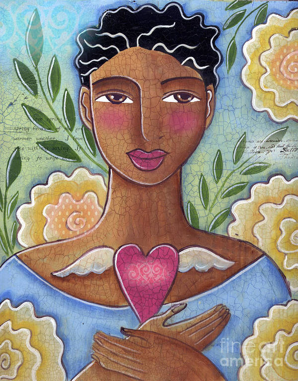 Woman Poster featuring the mixed media Precious Heart by Elaine Jackson by Elaine Jackson