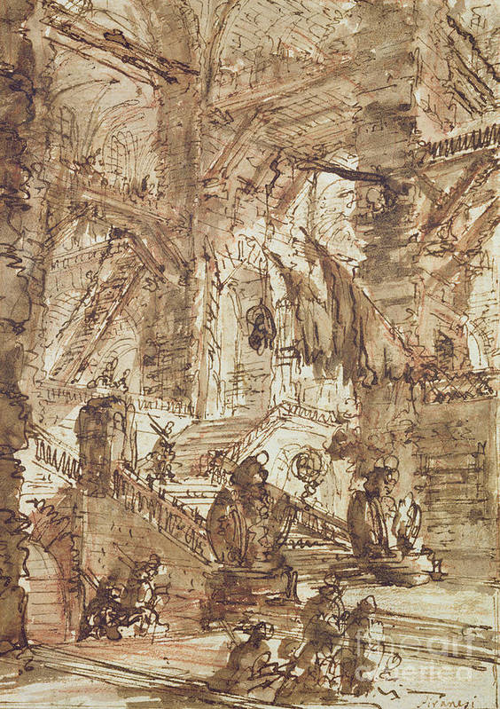 Prison; Gaol; Jail; Incarceration; Dungeon; Imaginary; Fantastic Poster featuring the drawing Preparatory Drawing For Plate Number Viii Of The Carceri Al'invenzione Series by Giovanni Battista Piranesi