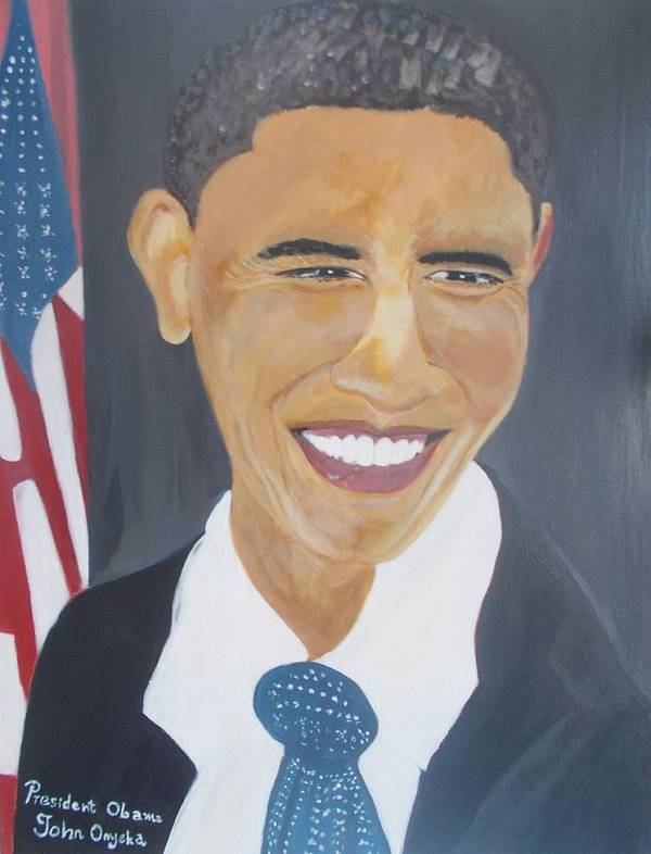 President Barack Obama Poster featuring the painting President Barack Obama by John Onyeka