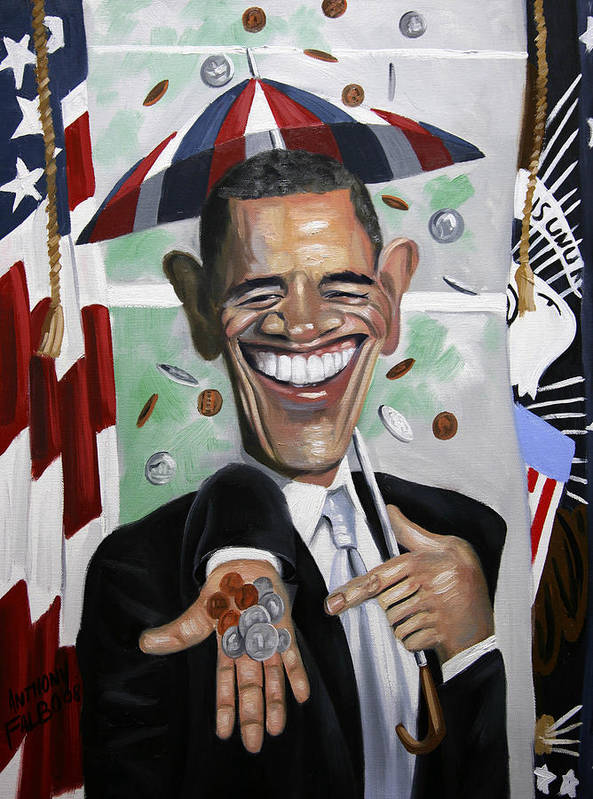 President Barock Obama Poster featuring the painting President Barock Obama Change by Anthony Falbo