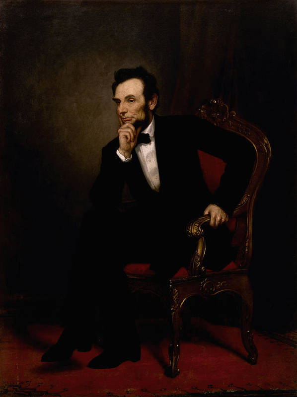 Abraham Lincoln Poster featuring the painting President Lincoln by War Is Hell Store