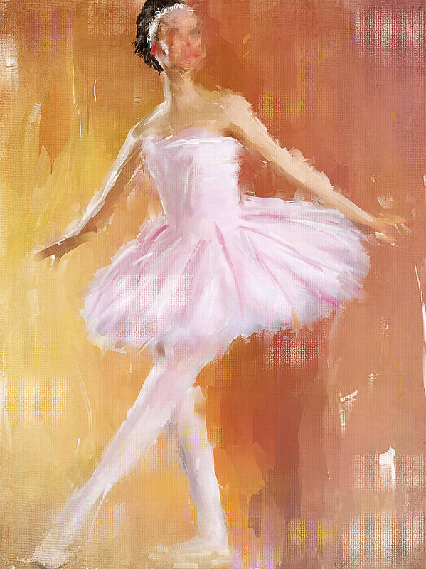 Ballerina Poster featuring the painting Pretty Ballerina by Lourry Legarde