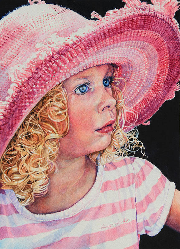 Child Portrait Poster featuring the painting Pretty In Pink by Hanne Lore Koehler
