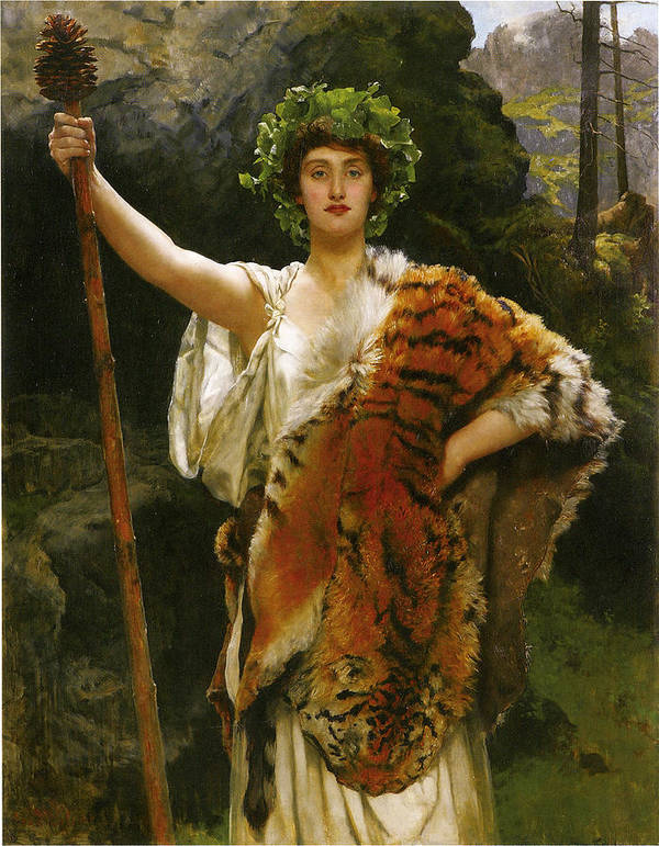 John Collier Poster featuring the digital art Priestess Bacchus by John Collier