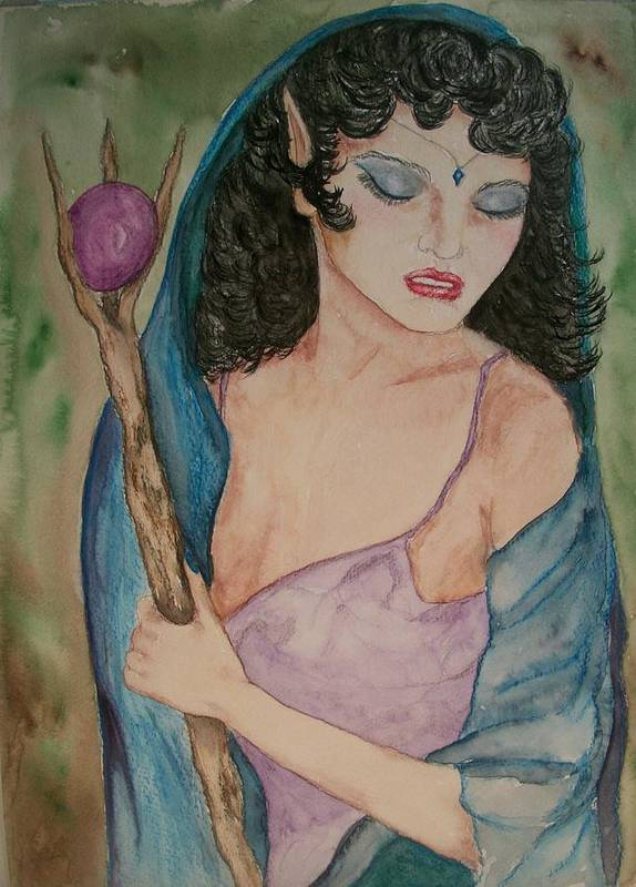 Pagan Poster featuring the painting Priestess by Carrie Viscome Skinner