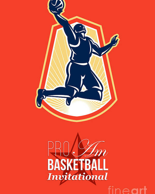Basketball Poster featuring the digital art Pro Am Basketball Invitational Retro Poster by Aloysius Patrimonio
