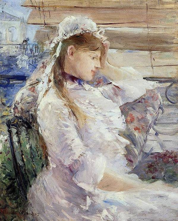 Female; Portrait; Half Length; White Dress; Gown; Impressionist; Outside; Bonnet; Frills; Frilly Poster featuring the painting Profile Of A Seated Young Woman by Berthe Morisot