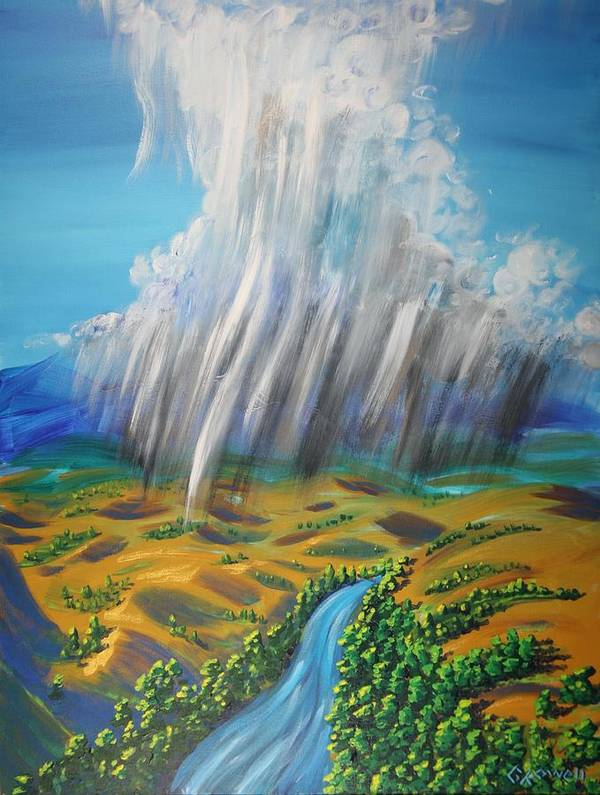 Rain Poster featuring the painting Prophesy My Reign My River by Gary Rowell
