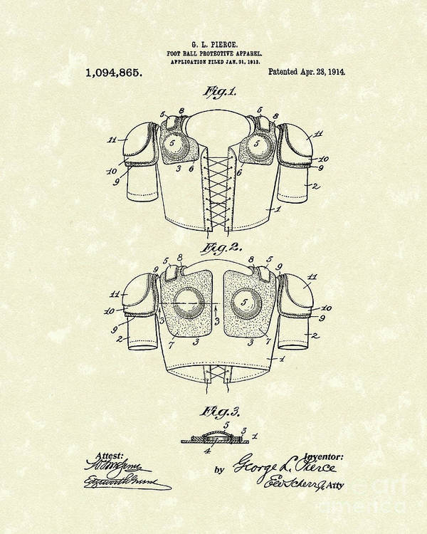 Pierce Poster featuring the drawing Protective Gear 1914 Patent Art by Prior Art Design