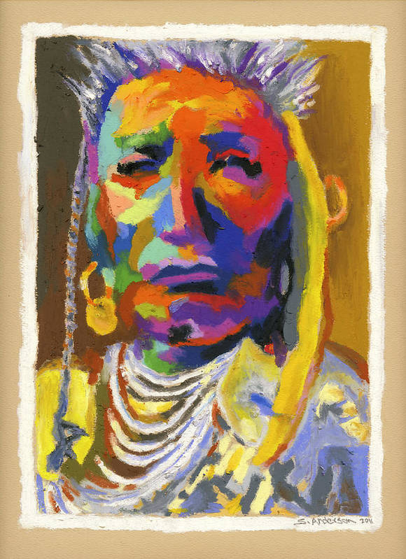 Indian Poster featuring the painting Proud Native American by Stephen Anderson