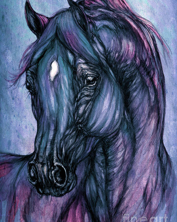 Horse Poster featuring the painting Psychodelic Deep Blue by Angel Tarantella