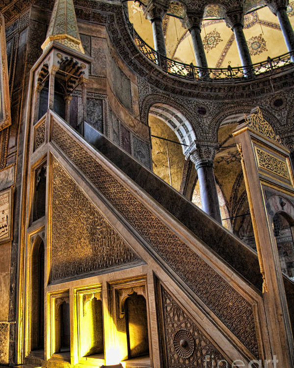 Turkey Poster featuring the photograph Pulpit In The Aya Sofia Museum In Istanbul by David Smith