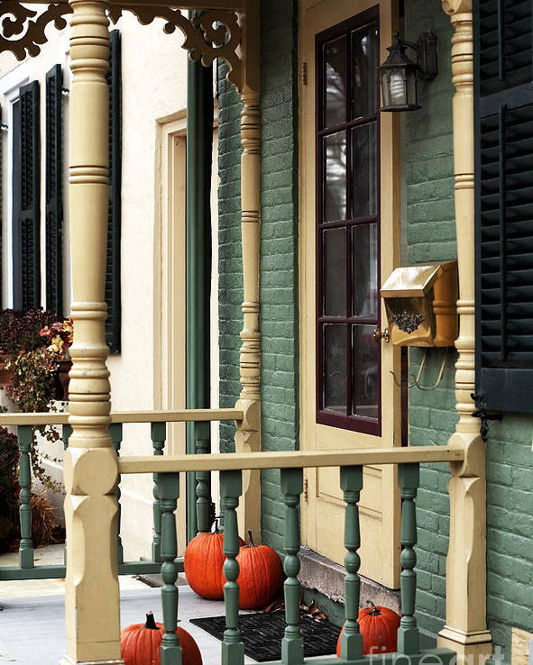 Pumpkins On The Porch Poster featuring the photograph Pumpkins On The Porch by John Rizzuto