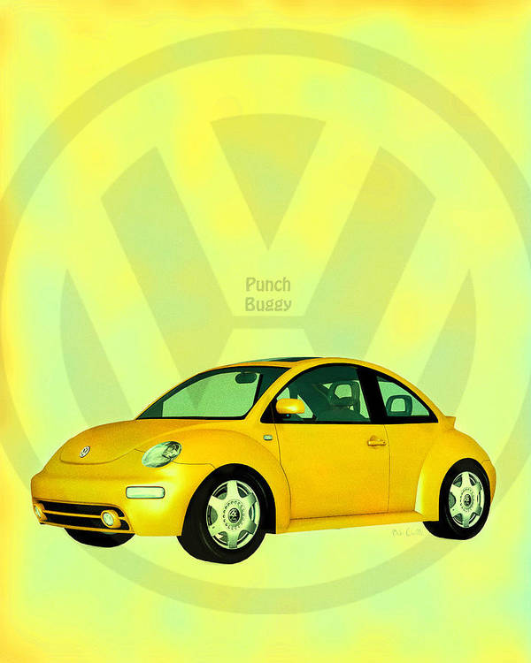 Punch Buggy Poster featuring the digital art Punch Buggy by Bob Orsillo