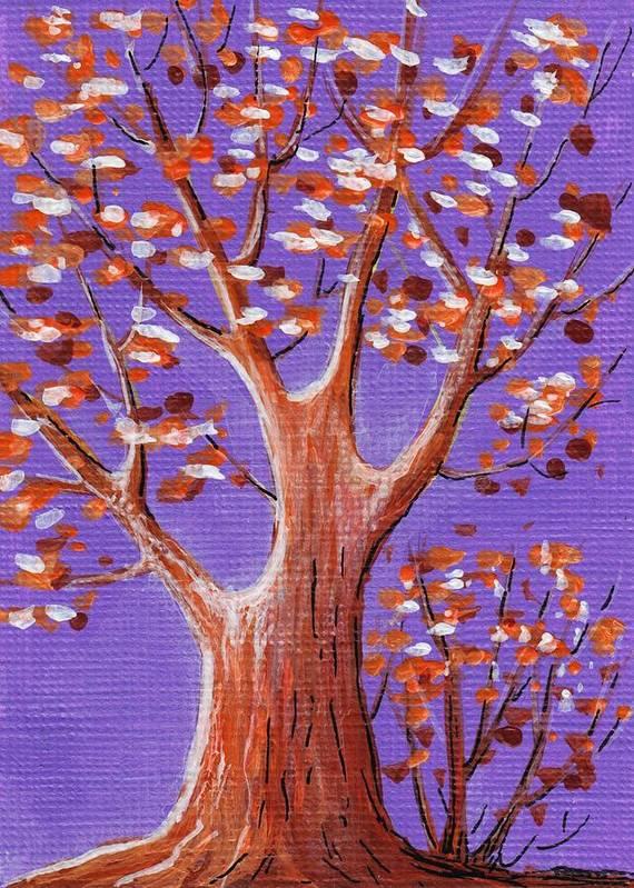 Malakhova Poster featuring the painting Purple And Orange by Anastasiya Malakhova