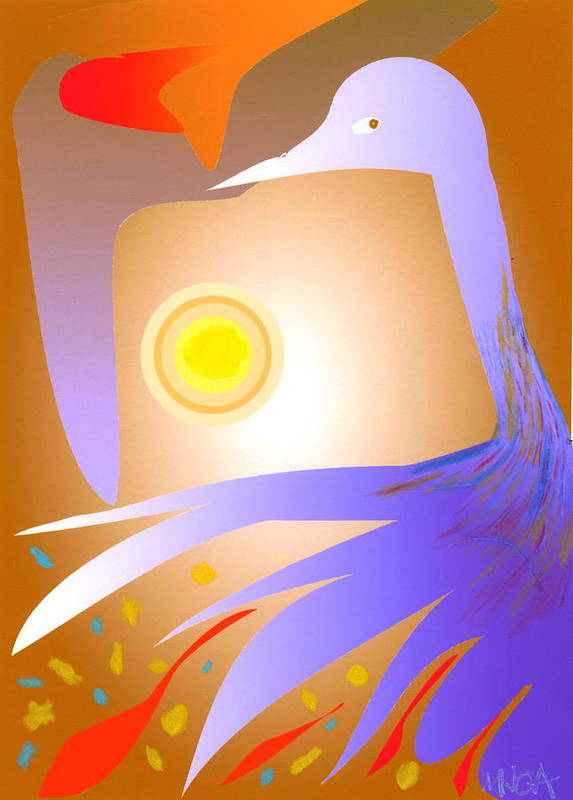 Birds Poster featuring the digital art Purple Bird by Mary Armstrong