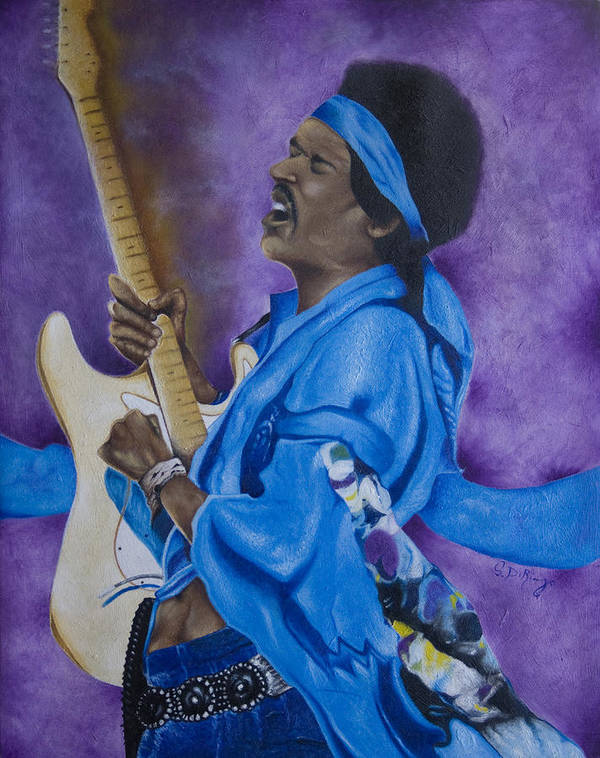 Portraiture Poster featuring the painting Purple Haze by Stephen J DiRienzo