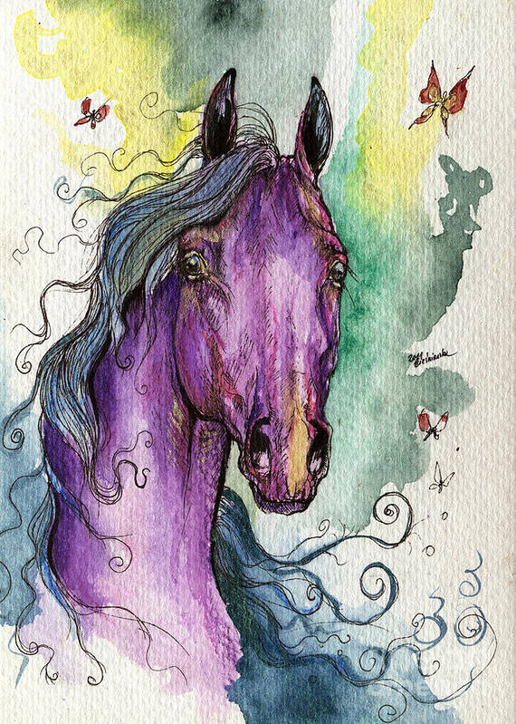 Fairytale Poster featuring the painting Purple Horse by Angel Ciesniarska