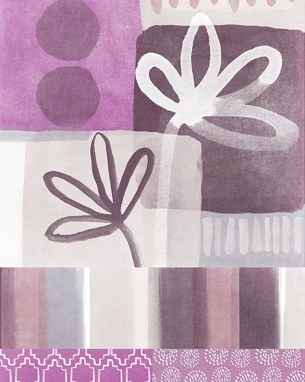 Hope Poster featuring the mixed media Purple Patchwork- Contemporary Art by Linda Woods
