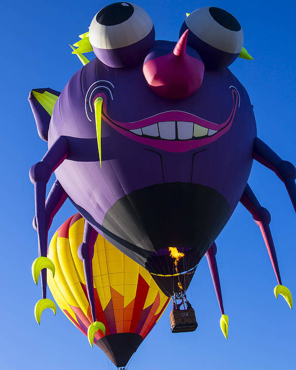 Purple People Eater Hot Air Balloon Poster featuring the photograph Purple People Eater And Friend by Garry Gay