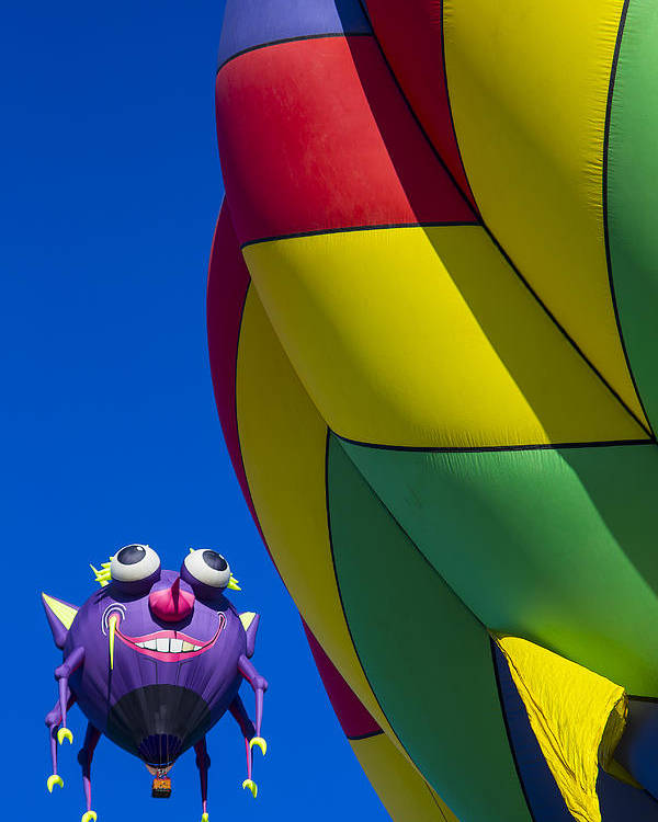 Purple People Eater Hot Air Balloon Poster featuring the photograph Purple People Eater Smiling by Garry Gay