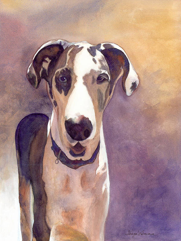 Dog Poster featuring the painting Puzzle The Great Dane by Tanya Lemma