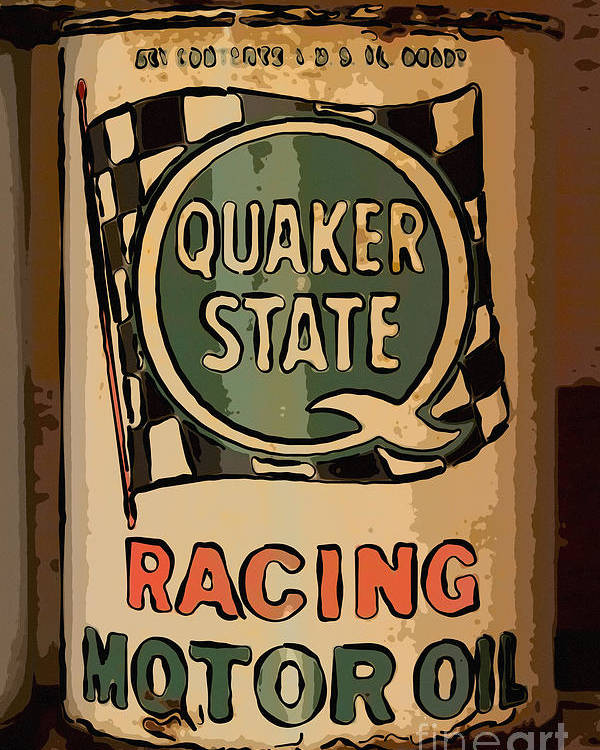 Racing Motor Oil Poster featuring the photograph Quaker State Oil Can by Carrie Cranwill