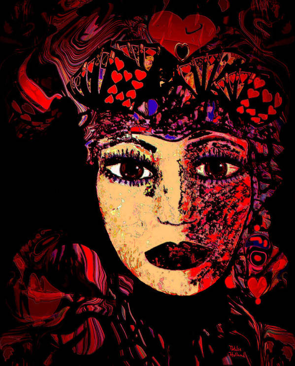 Face Poster featuring the mixed media Queen Of Hearts by Natalie Holland