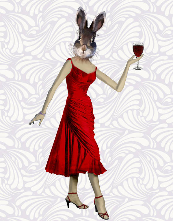Rabbit Framed Prints Poster featuring the digital art Rabbit In A Red Dress by Kelly McLaughlan