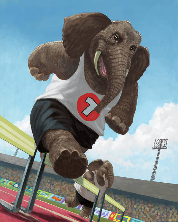Elephant Poster featuring the painting Racing Running Elephants In Athletic Stadium by Martin Davey