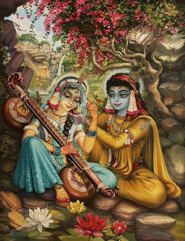 Krishna Poster featuring the painting Radha Playing Vina by Vrindavan Das