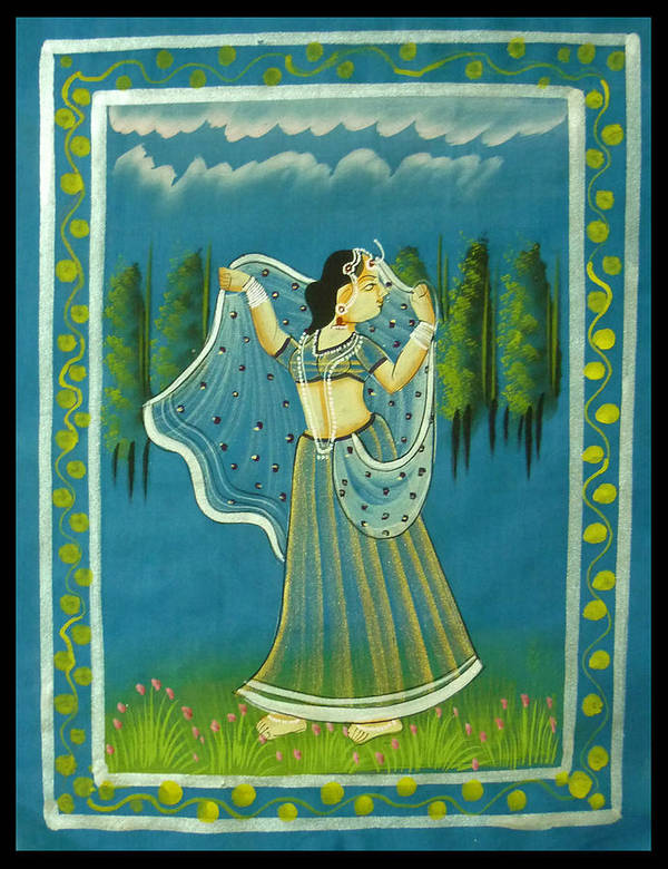 Radha Poster featuring the painting Radha's Passion by Sivaanan Balachandran