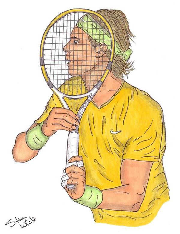 Raphael Nadal Poster featuring the drawing Rafael Nadal by Steven White