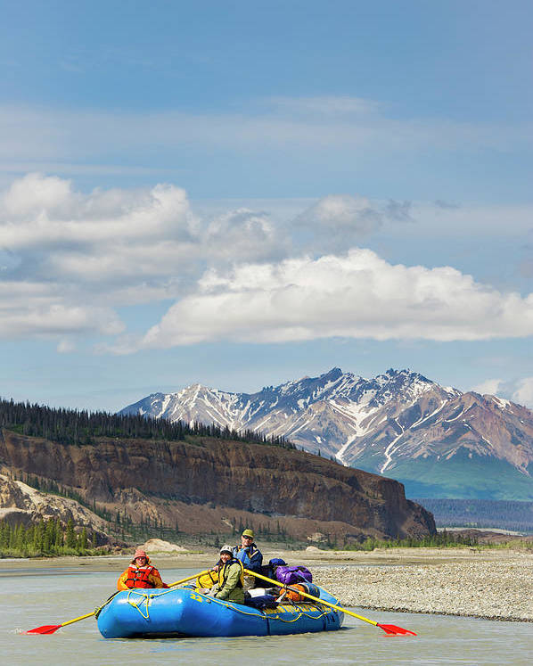 Mountain Range Poster featuring the photograph Rafters On The Alsek River by Josh Miller Photography