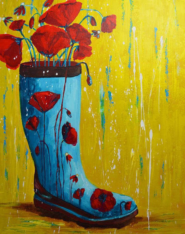 Art Poster featuring the painting Rain Boot Series Unusual Flower Pots by Patricia Awapara