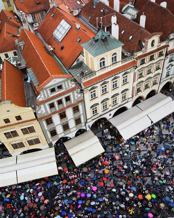 Old Town Square Poster featuring the photograph Rainy Day In Prague-2 by Diane Macdonald