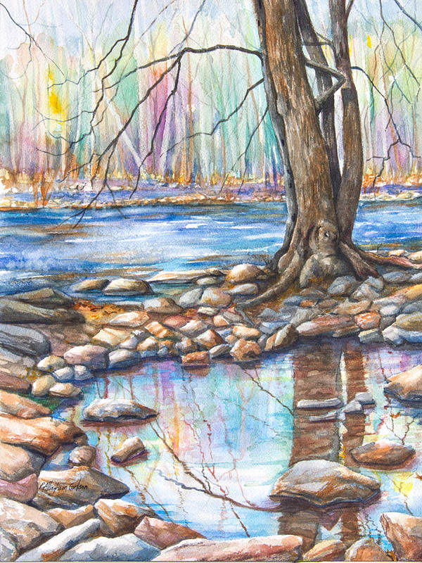 A Pool Of Water Splashed From The Flowing River; It Is Early Spring And The Trees Are Dreaming Of Blooming In Pastel Shades. A Staid Tree Reflects Itself Perfectly In The Quiet Pool Surrounded By The Rocks Of The Shoreline. Poster featuring the painting Ralph Stover Park In The Spring by Patricia Allingham Carlson