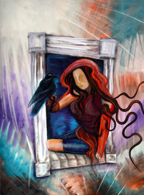 Raven Poster featuring the painting Raven's Wish by Laura Barbosa