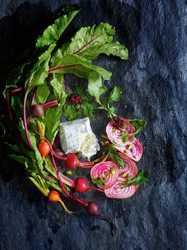Cheese Poster featuring the photograph Raw Beeet Salad Ingredients by Annabelle Breakey