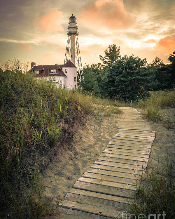 Rawley Point Poster featuring the photograph Rawley Point Lighthouse Under Smoldering Skies by Ever-Curious Photography