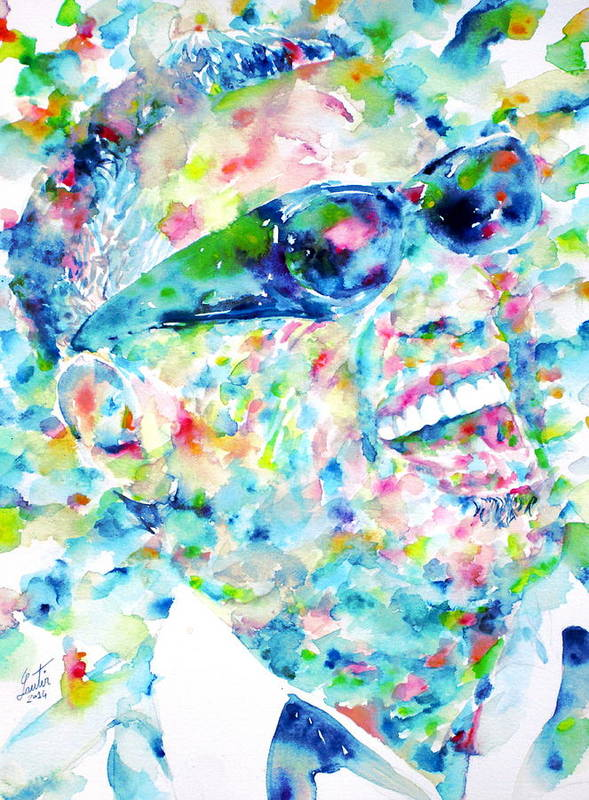 Ray Charles Poster featuring the painting RAY CHARLES - watercolor portrait by Fabrizio Cassetta