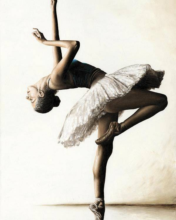 Dancer Poster featuring the painting Reaching For Perfect Grace by Richard Young