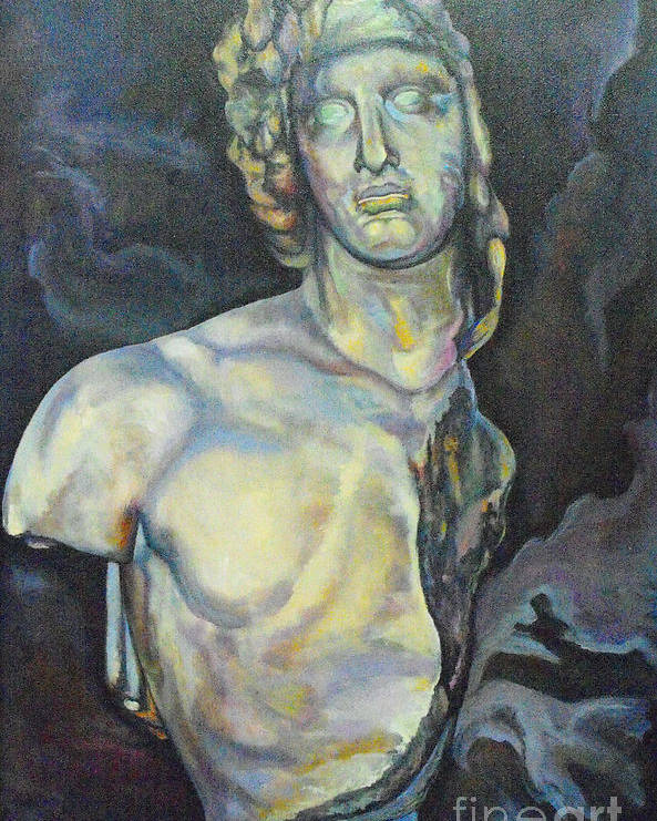 Greek Bust Poster featuring the painting Reaching The Breaking Point I by Eva Berman