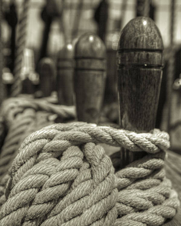 Rope Poster featuring the photograph Ready For Work Black And White Sepia by Scott Campbell